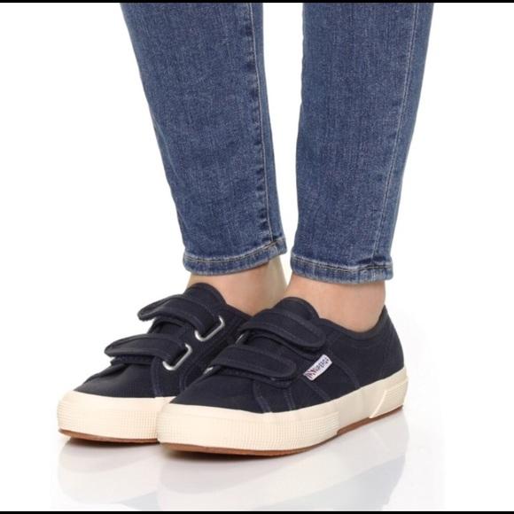 Superga Navy Velcro Strap Shoes